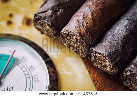 Close-up Quality Cigar And Humidor