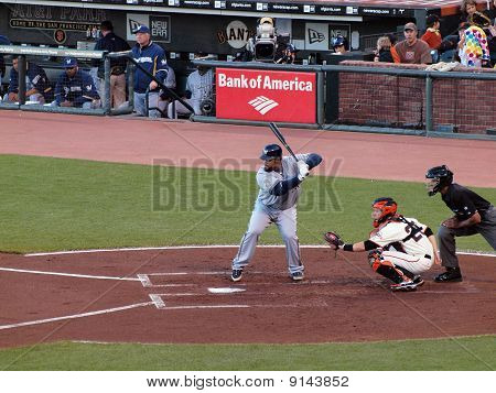 Brewers Prince Fielder Looks At Incoming Pitch With Giants Buster Posey Catching