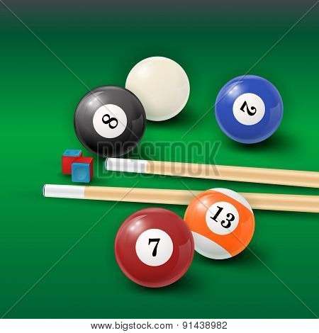 Pool Table Background  Illustration With Billiard Balls And Billiard Chalk And Cue