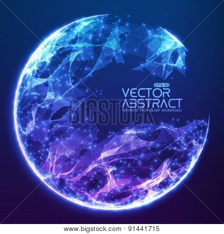 Abstract vector demolished sphere background. Futuristic technology style. Elegant background for bu