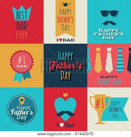 Happy fathers day vintage retro badges set.