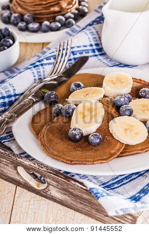 Homemade Chocolate Pancakes With Berries And Banana