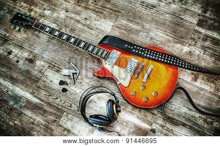 Headphones And Guitar In Hdr