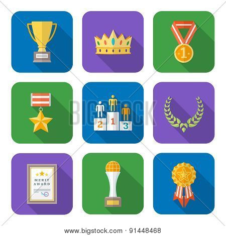 Flat Style Colored Various Awards Symbols Icons Collection.