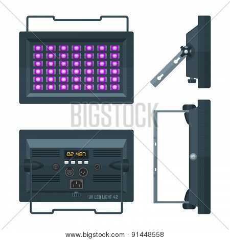 LED ultraviolet blacklight professional stage projector lightning colored flat illustration white background. poster