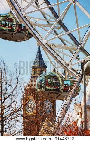 The London Eye Ferris Wheel Close Up In London, Uk