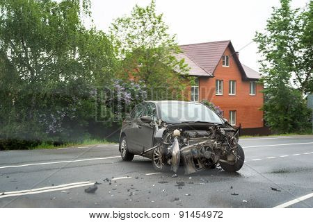 Moscow, Russia - May 24, 2015: Damaged Wrecked Car In The City