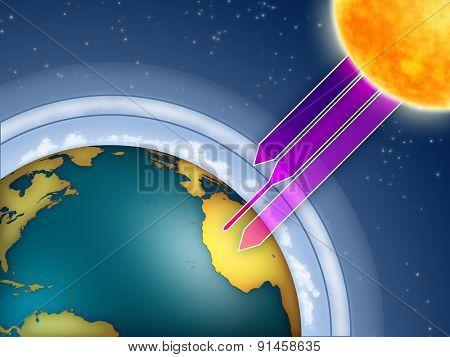 Atmospheric ozone filtering the sun ultraviolet rays. Digital illustration. poster