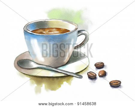 Coffee cup and some coffee beans. Original watercolor illustration.