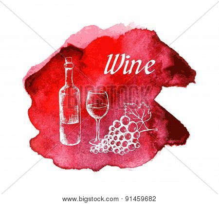 Sketch of wine on watercolor stain