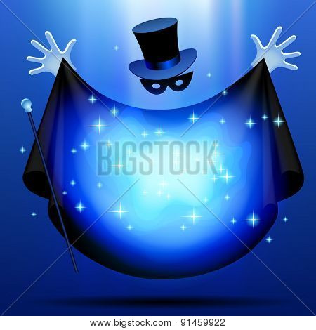 Invisible magician in top hat  and mask with black cloak performing a magic act with blue luminous cloud. Wizard art. Vector illustration