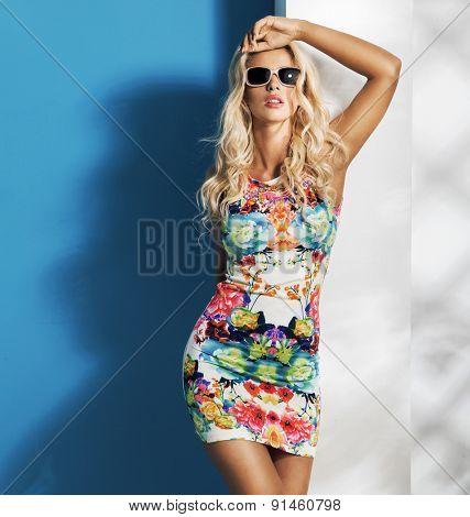 Stunning young blonde model posing