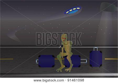 Ufo Incident. Cartoon Poster.