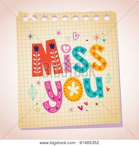 Miss you note paper cartoon illustration