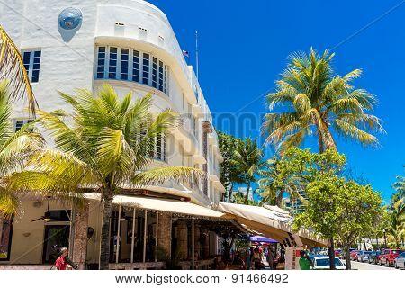 MIAMI, USA - CIRCA MAY 2015: The famous Ocean Drive Avenue in Miami Beach, USA.