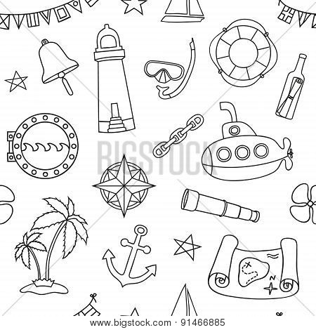 Seamless nautical pattern.