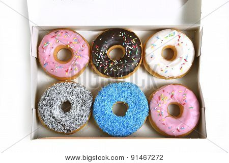 Delicious And Tempting Box Full Of Donuts With Different Flavours And Toppings Sugar Addiction Conce