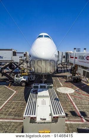 Lufthansa Boeing 747 Parks At Gate Position