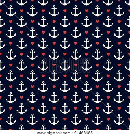 Nautical Seamless Pattern With Anchors And Hearts.