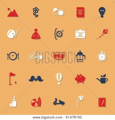 Slow Life Activity Classic Color Icons With Shadow