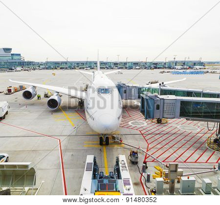 Lufthansa 747 Airplane Parked On Frankfurt Airport Airport While People Are Boarding For Delhi