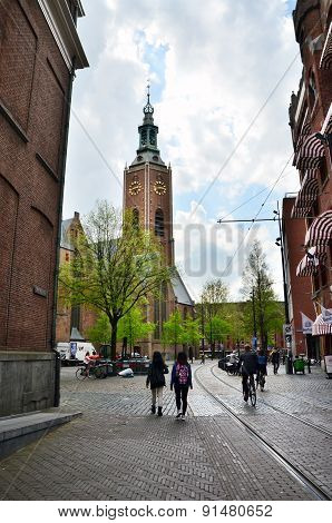 The Hague, Netherlands - May 8, 2015: People At Grote Of Sint-jacobskerk (big Church).