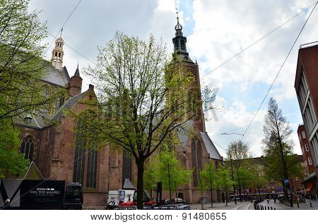 The Hague, Netherlands - May 8, 2015: People At Grote Of Sint-jacobskerk