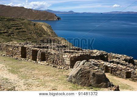 Ruins of Chinkana on Isla del Sol in Lake Titicaca, Bolivia