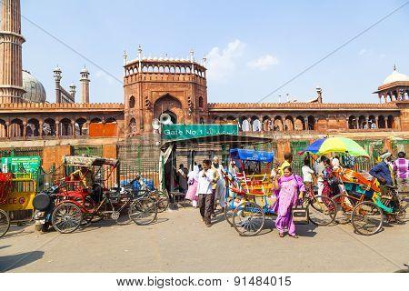 People Around Jama Masjid Mosque, Old Delhi, India