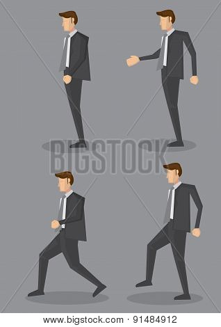 Profile View Of Businessman In Black Corporate Suit Vector Illustration
