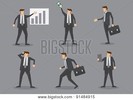 Professional Businessman In Action At Work Vector Illustration