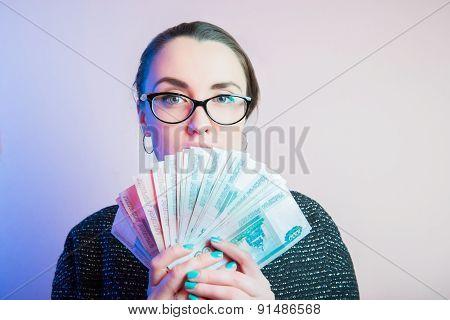 Businesswoman portrait, sexy businesswoman with eyeglasses