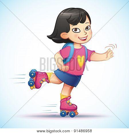 Little asian girl  rides on roller skates.