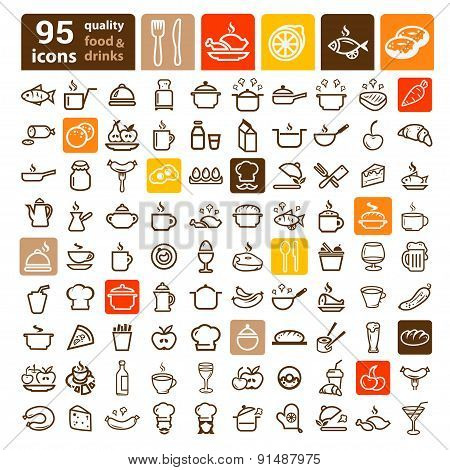 food icons big set