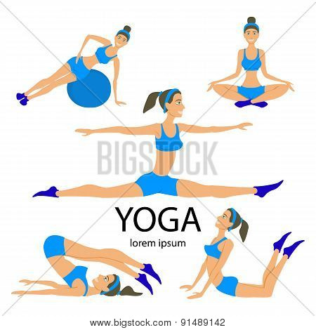 Vector Yoga Set Women Sketch Asana Girl Exercises Healthy  Lifestyle