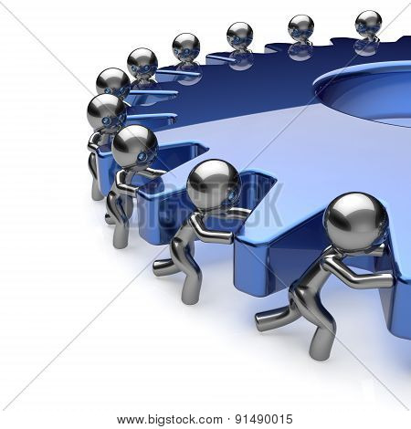 Team Work Partnership Business Men Turning Blue Gear Icon