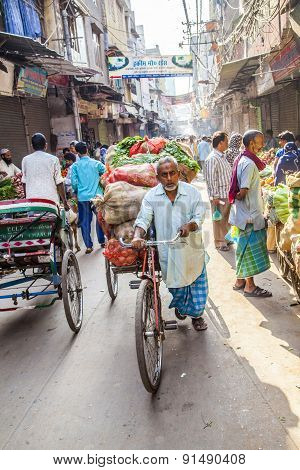 Rickshaw Rider Transports Vegetables Early Morning At The Market