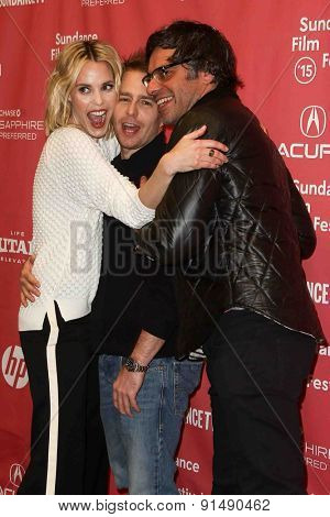 PARK CITY, UT-JAN 28: (L-R) Actors Leslie Bibb, Sam Rockwell and Jemaine Clement attend the