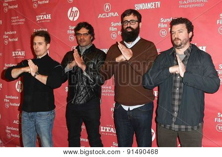 PARK CITY, UT-JAN 28: (L-R) Sam Rockwell, Jemaine Clement, Jared Hess and Danny McBride attend the