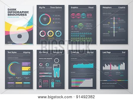 Black infographic business brochure elements in vector format