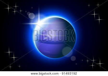 illustration of Neptune one of solar system planet in the dark poster