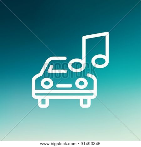 Car with music icon thin line for web and mobile, modern minimalistic flat design. Vector white icon on gradient mesh background.