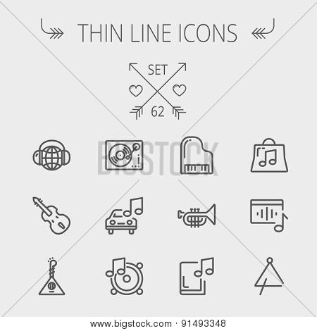 Music and entertainment thin line icon set for web and mobile. Set includes-Phonograph turntable, trumpet, piano, guitar, headphone, tambourine, car music icons. Modern minimalistic flat design