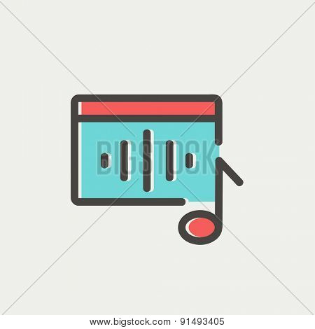 Radio retro icon thin line for web and mobile, modern minimalistic flat design. Vector icon with dark grey outline and offset colour on light grey background.