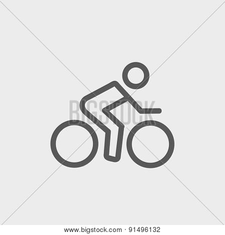Sport bike and rider icon thin line for web and mobile, modern minimalistic flat design. Vector dark grey icon on light grey background.