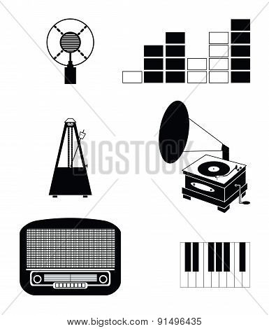 Music players and components vol 3 black and white including  vintage microphone, sound and tune ind