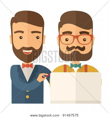 A two caucasian workers using laptop. A Contemporary style. Vector flat design illustration isolated white background. Square layout.