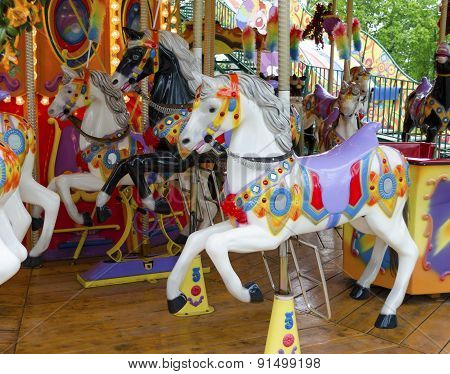 Fairground Ride Horses. Carnival Horses.