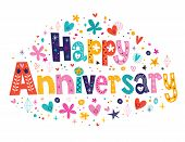 Happy Anniversary decorative type lettering greeting card poster