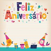 Feliz Aniversario Portuguese Happy Birthday gretting card poster